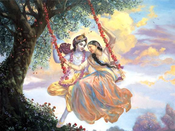Radha-Krishna on a swing