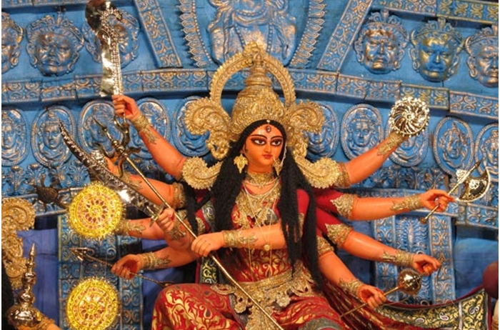 Ma Durga with her celestial weapons
