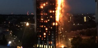 london highrise catches fire